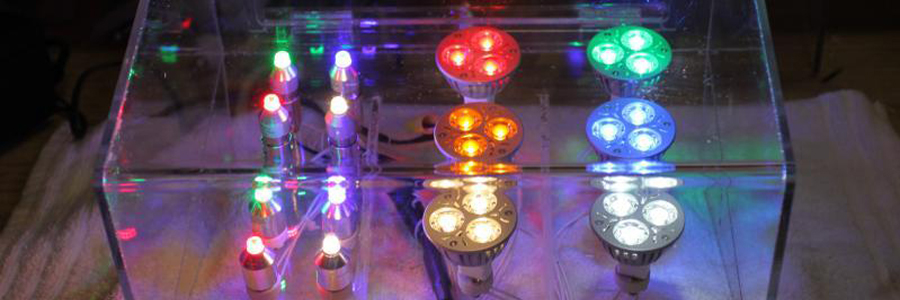 Billiance LED bulbs showcasing different coloured lights