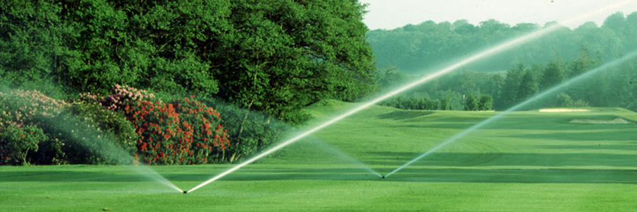 Rotors watering golf course